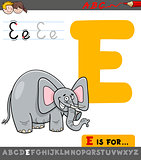 letter e with cartoon elephant