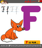 letter f with cartoon fox