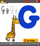 letter g with cartoon giraffe