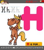 letter h with cartoon horse