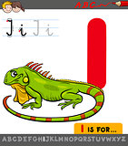 letter i with cartoon iguana
