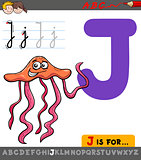 letter j with cartoon jellyfish