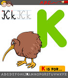 letter k with cartoon kiwi bird