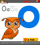 letter o with cartoon owl bird