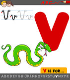 letter v with cartoon viper