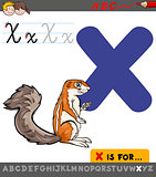 letter x with cartoon xerus