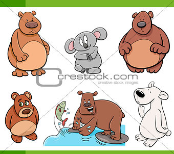 bears animal characters set