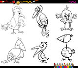 fantasy birds set coloring page