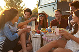 Friends enjoying a picnic beside their camper van