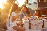 Three female friends enjoying a picnic by their camper van