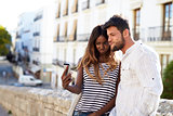 Young adult couple posing for a selfie, Ibiza, Spain