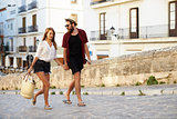 Young couple shopping on vacation in Ibiza, Spain