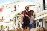 Young adult couple on vacation shopping, Ibiza, Spain