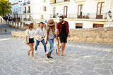 Young adult friends on holiday sightseeing in Ibiza, Spain