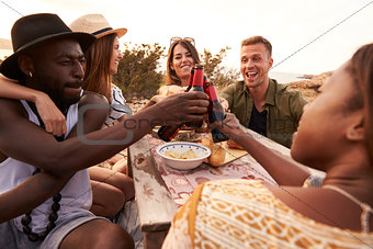 Group Of Friends Making A Toast On Cliff Top Picnic