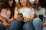 Teenage girl showing her friends   something on smartphone