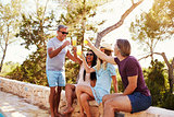 Two adult couples socialising outdoors make a toast, Ibiza
