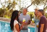 Two couples standing in a garden by a swimming pool talking