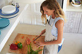 Woman standing in kitchen chopping vegetables, elevated view