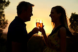 Romantic couple making a toast outdoors at sunset, waist up