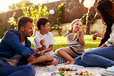 Family Enjoying Picnic On Blanket In Garden