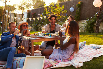 Group Of Friends Enjoying Outdoor Picnic In Garden