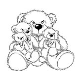 Drawing Teddy Bears with bow. Vector illustration