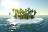 sea, tropical island, palm , sun 3d rendering