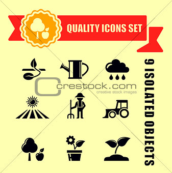 agriculture or garden icons with red tape