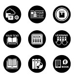 book learning concept round icons
