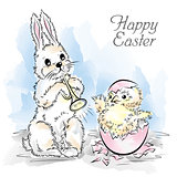 Easter card with rabbit and newborn chicken