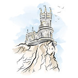 Yalta Swallow Nest. Drawing color vector illustration