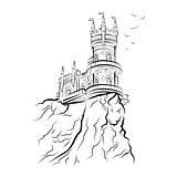 Yalta Swallow Nest. Drawing vector illustration