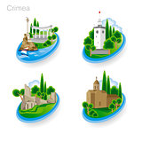 Landmarks of Crimea. Set of color icons