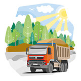 Drawing red dump truck sand, vector illustration