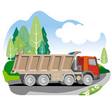 Drawing red tipper dump truck in summer background