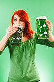 Drinking green beer for St Patricks Day