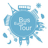 Europe bus tours design icon
