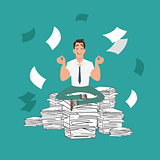 Businessman meditating in peace on a pile of documents