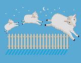 Sheep count at night illustration