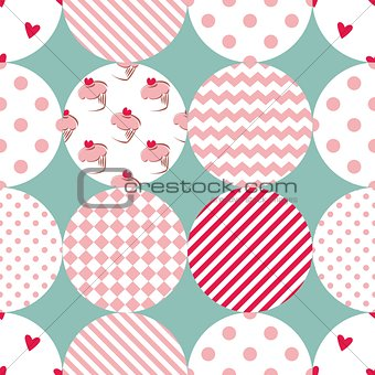 Tile patchwork vector pattern with polka dots, plaid and strips on pastel background