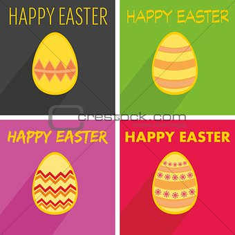 Flat vector easter egg set with wishes and long shadow