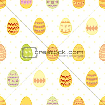 Tile vector pattern with easter eggs on yellow polka dots on white background