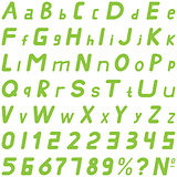 Green fonts soft sloping style hand work for commerce use.