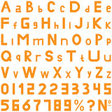 Orange fonts middle style hand work for commerce use.