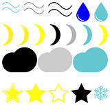 Symbol whether: wind, drop, moons, clouds, stars and snowflake.