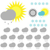 Symbol whether: snowflakes, sun and clouds.