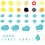 Symbol whether: suns, clouds, snowflakes and drop.