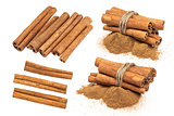 Cinnamon sticks isolated on white background with clipping path