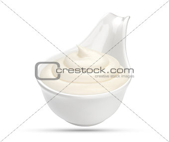 Sour cream in bowl isolated on white background
